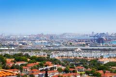 Ciudad de Long Beach, puerto deportivo y puerto de envío, los E.E.U.U. Foto de archivo