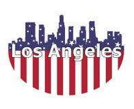 Ciudad de Los Angeles y bandera de los E.E.U.U. stock de ilustración