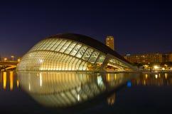 Ciudad de los artes y de las ciencias en la noche Fotos de archivo libres de regalías