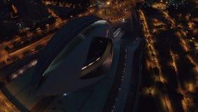 Ciudad de los artes y de las ciencias, opinión aérea de la noche en Valencia almacen de video