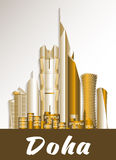 Ciudad de los edificios famosos de Doha Qatar ilustración del vector