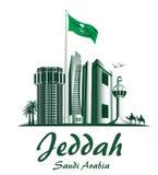 Ciudad de los edificios famosos de Jedda la Arabia Saudita libre illustration