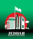 Ciudad de los edificios famosos de Jedda la Arabia Saudita ilustración del vector