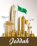 Ciudad de los edificios famosos de Jedda la Arabia Saudita stock de ilustración