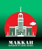 Ciudad de los edificios famosos de Makkah la Arabia Saudita ilustración del vector