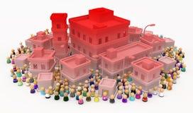 Ciudad de los edificios de la muchedumbre de la historieta, rojo de la crisis stock de ilustración