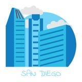 Ciudad de los iconos del vector de San Diego en el fondo blanco Foto de archivo