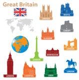 Ciudad de los símbolos a Gran Bretaña Foto de archivo libre de regalías