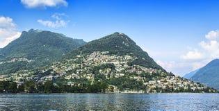 Ciudad de Lugano, montaña de Bré Imágenes de archivo libres de regalías
