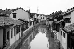 Ciudad de Luzhi blanco y negro Foto de archivo