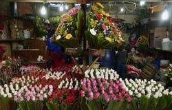 Ciudad de México, México 11 de diciembre de 2017: El mercado Mercado de Jamaica de la flor en Ciudad de México Imágenes de archivo libres de regalías