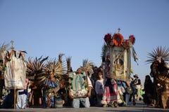 Ciudad de México, México 12 de diciembre de 2017: Los peregrinos celebran las festividades en la basílica de Guadalupe Fotografía de archivo libre de regalías