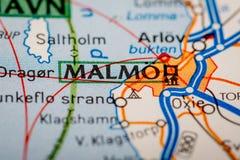 Ciudad de Malmö en un mapa de camino Imagen de archivo