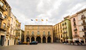 Ciudad de Manresa del ayuntamiento de la plaza principal Imagenes de archivo