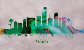 Ciudad de Miami en la Florida, horizonte ilustración del vector