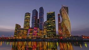 Ciudad de Moscú del centro de negocios metrajes