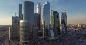 Ciudad de Moscú del centro de negocios, fotografía aérea en el abejón metrajes