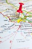 Ciudad de Nápoles en un mapa de camino Imágenes de archivo libres de regalías