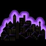 Ciudad de neón estilizada Fotos de archivo