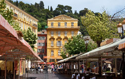 Ciudad de Niza - edificio viejo en el Cours Saleya Imágenes de archivo libres de regalías