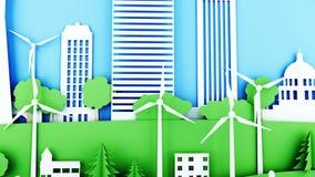 Ciudad de papel de la historieta con las turbinas de la energía eólica Concepto ecológico Animación realista 4K stock de ilustración