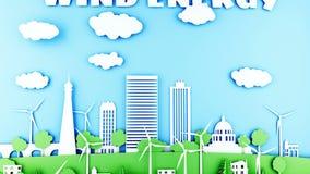 Ciudad de papel de la historieta con las turbinas de la energía eólica Concepto ecológico Animación realista 4K ilustración del vector