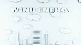 Ciudad de papel de la historieta con las turbinas de la energía eólica Concepto ecológico Animación realista 4K libre illustration