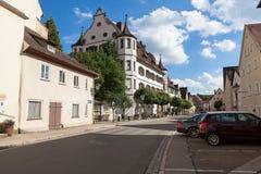 Ciudad de Pappenheim en el condado en el viejo estilo alemán Imagen de archivo