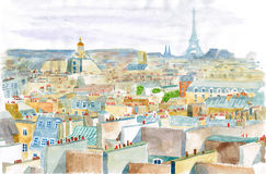 Ciudad de París en acuarela Foto de archivo