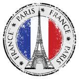Ciudad de París en el sello del grunge de Francia, vector de la torre Eiffel