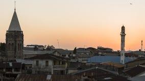Ciudad de piedra en Zanzíbar en la noche foto de archivo libre de regalías