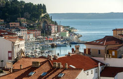Ciudad de Piran, mar adriático, Eslovenia Imagenes de archivo