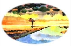 Ciudad de playa en la puesta del sol, paseo de la gente a lo largo de la 'promenade' El cielo despejó después de lluvia Los barco stock de ilustración