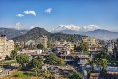 Ciudad de Pokhara en d3ia imagen de archivo libre de regalías