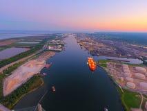 Ciudad de puerto del puente imagen de archivo libre de regalías