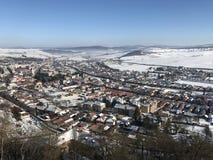 Ciudad de Rupea, cubierta con nieve Fotografía de archivo libre de regalías