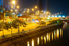 Ciudad de Saigon, opinión de la noche Fotos de archivo libres de regalías