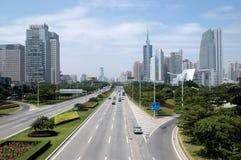 Ciudad de Shenzhen - avenida principal Fotos de archivo