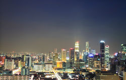 Ciudad de Singapur de la visión aérea Foto de archivo