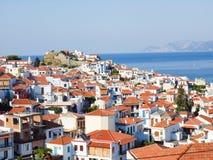 Ciudad de Skopelos Foto de archivo