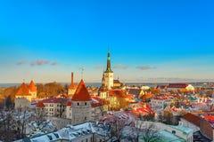 Ciudad de Tallinn Estonia Nieve en árboles en invierno imagen de archivo