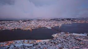 Ciudad de Tromso en invierno metrajes