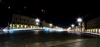 Ciudad de Turín Italia en la noche Fotografía de archivo libre de regalías