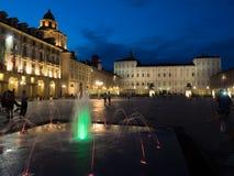 Ciudad de Turín Italia en la noche Foto de archivo libre de regalías