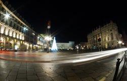 Ciudad de Turín Italia en la noche Imágenes de archivo libres de regalías