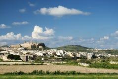 Ciudad de Victoria en la isla Malta del gozo Imagen de archivo