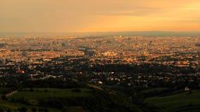 Ciudad de Viena, Austria Panorama escénico de Viena de la puesta del sol metrajes