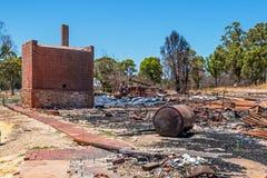 Ciudad de Yarloop después del fuego: Museo ferroviario Imágenes de archivo libres de regalías