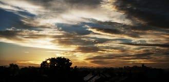 Ciudad de Yorkshire - horizonte en la puesta del sol imagen de archivo libre de regalías