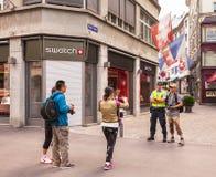 Ciudad de Zurich en el día nacional suizo Imágenes de archivo libres de regalías
